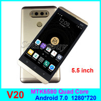 Multi-touch IPS Screen 5.5 polegadas V20 Android 7.0 Smartphone MTK6580 Quad Core Real 1GB 4GB ROM 5MP 1280 * 720 Wifi Cell Phone