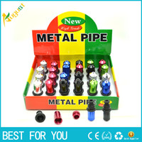 Wholesale Tobacco Smoking Metal Tube - Mini Metal Smoking Pipe Tobacco Snuff Tube Colorful Hand Pipes Durable Rubber Mouth Top Brand Aluminum Smoking Snuff