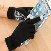 Wholesale glue gloves for sale - Group buy Men and women s black knitted slip resistant gloves female black glue touch screen gloves