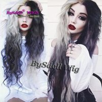 Wholesale Sexy Halloween Wig - New Arrival premium sexy black ombre white color hair wig synthetic halloween cosplay wig middle part scalp type halloween party wigs