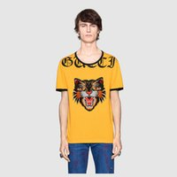Wholesale Modal Tees Tops - high quality 2017 summer new Europe tide brand t-shirt blind for love Tiger head print men fashion cotton Short sleeves top tees