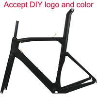 Wholesale Bicycle Frame 52cm - DIY logo bicycle carbon frame T1100 1K road bike frame BOB black carbon frame torayca carbon bike frameset can paint any logo frames