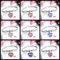 Wholesale Love Heart Chains - 48 Styles Crystal Letter family member best friend hope sister daughter bracelets Sweet love Heart Charm Bracelet & Bangle For Women girls