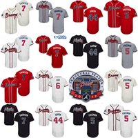 Wholesale Baseball Jersey Cool Base - 2017 Commemorative Patch Atlanta Braves Mens #7 Dansby Swanson 5 Freddie Freeman 6 Bobby Cox 44 Hank Aaron Cool Base Jersey Stitched