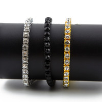 pulsera para hombre diamantes al por mayor-Men Iced Out 1 Row Rhinestones Pulsera Hip Hop Style para hombres Clear Simulated Diamond Bangles HQ
