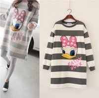 Wholesale Pregnancy Full Dress - 2016 Winter Autumn Sweater Jumper Hoodies Pregnancy woman Top Duck Tee Long Style Pregnant Clothing New Mother Dress 2 colors