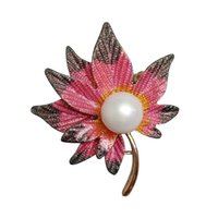 Atacado- CINDY XIANG 3 Cores Disponíveis Color-changing Maple Brooch Pearl Broches Pins Bijouterie Fashion Jewelry Broches Good Gift