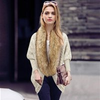 Wholesale Large Knit Scarf - 2017 Autumn And Winter New Large Size Women's Bat Sleeve Knitted Cardigan Sweater Coat Fur Collar Cloak With Faux Fur Collar Open Stitc