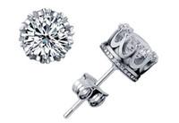 preços caixas de presente venda por atacado-Quente! 925 sterling silver crown zircon earrings coréia europa para as mulheres de jóias de casamento preço de fábrica elegante não se desvanece caixa de presente