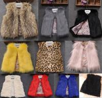 ingrosso panciotto di pelliccia del faux del bambino-2016 Neonate Faux Fur Gilet caldi Kids Girl Autunno Inverno Moda Gilet di pelliccia Abbigliamento per bambini Bambini Capispalla bambini vestiti