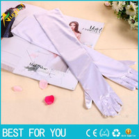 Wholesale White Stretch Gloves Wholesale - New Fashion Stretch Satin Long Gloves for Women Evening Party Opera Gloves Women Brand Fashion Apparel Accessories for Lady new hot