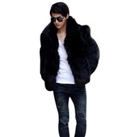 Wholesale Style Men Jacket Fur - Fall-2016 Mens Fashion Solid Vetement Homme Faux Fox Fur Coat Casual Warm Jacket Outwear Autumn Winter Style Plus Size L-3XL