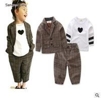 Wholesale Peaches Outfit - Ins 3 Piece Outfits for Kids Boys and Girls Clothing Sets Plaid Suits Peach Heart T shirt Unisex Kids Clothing Toddler Baby Clothes 1-6Y