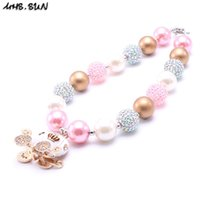 Wholesale MHS SUN Pink Color Pumpkin Carrige Kid Chunky Necklace Halloween Style Bubblegum Bead Chunky Necklace Children Jewelry For Toddler Girls