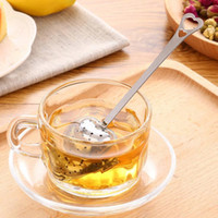 Wholesale Heart Shaped Spoons Wholesale - Heart Shaped tea infuser Mesh Ball Stainless Strainer Herbal Locking Tea Infuser Spoon Filter Free Shipping