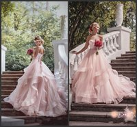 Wholesale sweetheart wedding dresses for sale - 2018 New Blush Pink Garden Wedding Dresses with Ribbon Sweetheart Beads Ruffles Skirt Princess Bohemian Bridal Dresses with Sweep Train