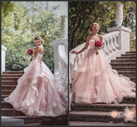 Wholesale sweetheart tulle wedding dress pink resale online - 2019 New Blush Pink Garden Wedding Dresses with Ribbon Sweetheart Beads Ruffles Skirt Princess Bohemian Bridal Dresses with Sweep Train
