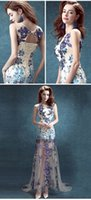 Wholesale Short Beaded After Dresses - Blue, blue and white porcelain is the bride wedding toast short long after the wedding dress before dinner