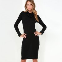 Plus Size Dresses black cowl neck sweater - Women Winter Dresses Long Sleeve Casual Knitted Dress Fashion Elegant Turtleneck Sweater Dress Sexy Black Bodycon Dresses