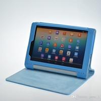 caja del folio de la tableta del yoga al por mayor-Plegable Folio PU Funda de piel para Lenovo Yoga Tablet PC B6000 8 pulgadas Soporte Funda magnética
