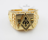 Wholesale gp party - High quality HIP HOP Gothic free Mason Finger rings Men's freemasonry Ring 24K GP Yellow Gold Masonic Rings for Men Size 7, 8,9 10,11,12,13