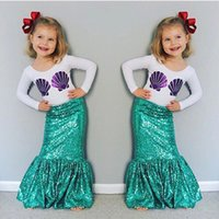 Wholesale Kids Skirt Shirt Design - Girls Sea-maid Cosplay Clothes Outfits Princess Mermaid Design T-shirts+ Ruffles Skirts Suits Children Kids Cotton Tees Skirts For 3-10T