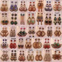 Wholesale Low Priced Bohemian Jewelry - Multiple styles mixed batch Alloy diamond earrings antique bronze earrings exaggerated retro bohemian jewelry earrings for woman low price