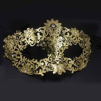 Wholesale black flower mask for sale - Group buy Party Masks Fashion Cosplay Fun Female Gold Flower Metal Party Mask Rhinestones Venetian Princess Filigree Black Gold Halloween Mask