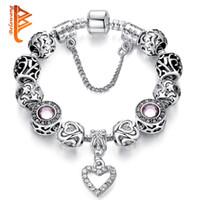 kristall herz armband großhandel-BELAWANG Hohe Qualität Europäischen Silber Herz Anhänger Perlen ArmbänderBangles mit Kristall Charme Perlen für Frauen DIY Schmuck mit Safe Kette