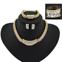 Wholesale Wholesale Nigerian Jewelry - Ruby.Ruth jewelry sets Fashion Fine gold Vintage Nigerian African collier women beads bridal wedding dubai Statement Necklace Earring set