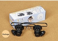 Wholesale Dental Glasses Magnifying Light - 20X Watch Repair Dental Loupes Binocular Glasses Magnifying Glass With LED Lights Eyewear Magnifiers with Box Free Shipping