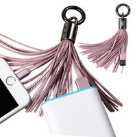 Wholesale V8 Portable Charger - Tassels Charging Data Cable line Portable Key Ring Micro USB V8 PU charger Bag Decoration Chain Sync Quick Charge Cords For Samsung SCA200