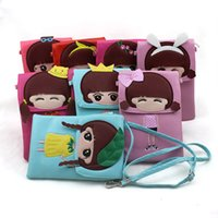 Wholesale Lovely Lady Belts - New PU Girls Messenger Wallets Lovely Leather Belt PU Phone Bag Multi Color Cross Body Bag Double Layer Lady's Bag