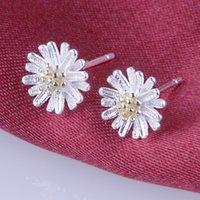 Wholesale Pendant Ear 18k - Gerbera daisies cute earrings 925 sterling silver 18K gold plated earrings ear Korea fashion jewelry pendant silver