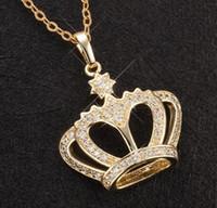 productos de strass al por mayor-Perfumes Femininos Cadena Rhinestone Corona Colgante Collar Encanto Joyería Corona Collar de diamantes Nuevo producto para mujeres Regalo de Navidad