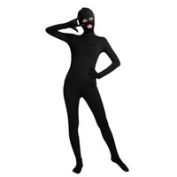 Wholesale Tights For Costumes - Ensnovo Unisex Lycra Nylon Spandex Zentai Costumes Suits Black Bodysuit Eyes Mouth Open Tights for Women Cosplay Party Use