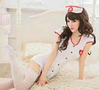 Wholesale White Nurse Sexy Lingerie - Wholesale- New White Nurse Women Sexy Lingerie Dress Garter Hat