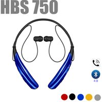 Wholesale Two Earphone One - With Retail HBS-750 Wireless Bluetooth 4.0 Earphone Sport Tone HBS750 Headset Headphones For iphone Samsung LG Huawei Handfree two phones
