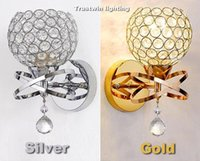 Wholesale Vintage Light Pull - Classic Vintage Crystal wall light Bedside Silver Gold ball crystal Wall Lamp 110V 220V crystal wall sconce with pull switch