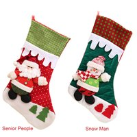 Vente en gros New Year Christmas Santa Claus Candy Gift Bag Bas Chaussettes Xmas Tree Hanging Ornament Décoration E00827
