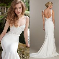 Wholesale Tara Keely Bridal Gowns - 2016 New Lace Backless Mermaid Wedding Dresses Tara Keely Spaghetti Sexy Back Appliques Court Train Beach Bridal Gowns Plus Size EN7064