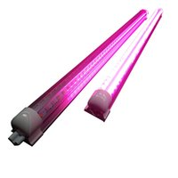 Wholesale T8 Led Grow Tube Lights - 380-800nm Full Spectrum LED Grow Light LED Grow Tube 8Ft T8 V-Shaped Integration Tube for Medical Plants and Bloom Fruit Pink Color