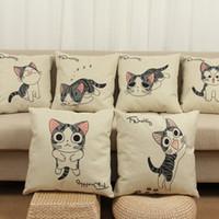 Wholesale anime cat pillows resale online - Hot Cushion Cover Cartoon Passer Cat and Anime Sweet Cat Pattern Pillowcase Thick Matte Cat Cotton Linen Pillow Cover