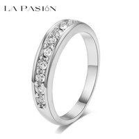 Wholesale Eternity Brand - lapasion Brand Fashion White Gold Plated TOP Class 9 pcs Rhinestones Eternity Band Wedding Ring Jewelry