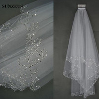 Wholesale Long Beaded Cheap Wedding Veils - Bridal Veils Cheap Soft Tulle Two-Layer Elbow Length Veils Beaded Edge White Ivory Veils for Wedding Long Bridal Accessories