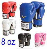 Wholesale Glove For Muay Thai - 8 oz ounces red black blue gold green adult boy girl woman man training boxing gloves for sanda free combat muay thai