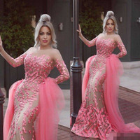 Wholesale fashion dress collection - 2016 New Collection 3D Flora Appliques Evening Dresses Jewel Neck Water Melon Color Detachable Train Formal Prom Party Gown For Arabic Style