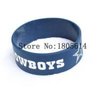 Wholesale Popular Silicone Wristbands - 50Pcs fashion Lot popular Dallas Cowboys Bracelets Wristband Silicone Bracelet Bangle