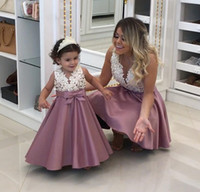 Wholesale Miss Mes - Cute Pearls Appliques Lace Mother Daughter Dresses Sheer Neck Illusion Bodice Satin Bow Floor Length Mommy and Me Evening Party Dresses