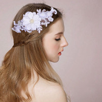 Wholesale Hairband For Bride - White Flower Headdress Bride Wedding Dress Accessories Handmade Crystal Lace Hair Jewelry Trendy Elegant Hairpin Hairband For Women